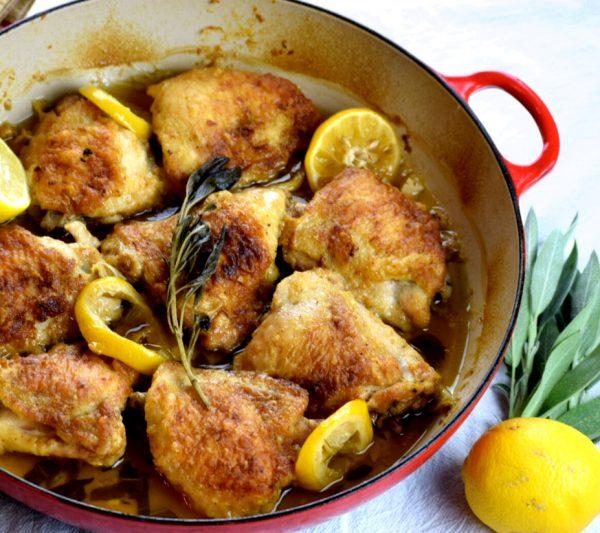 Lemon and Sage Braised Chicken Thighs