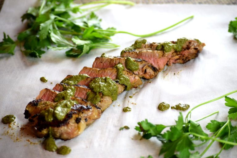 Chimichurri Tri Tip Strip cooked to Medium and cut against the grain.