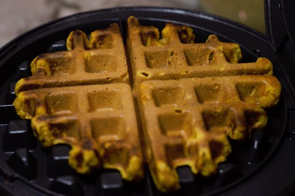 Perfectly Crisp Pumpkin Waffle after being in the waffle iron for 3-5 minutes.