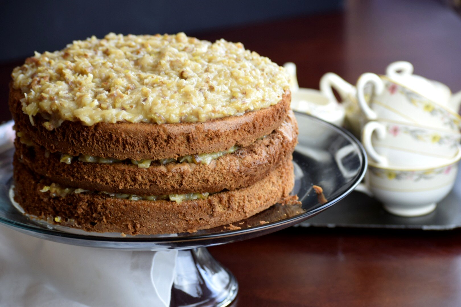 German Chocolate Cake with Coconut Pecan Frosting - Delicious by ...