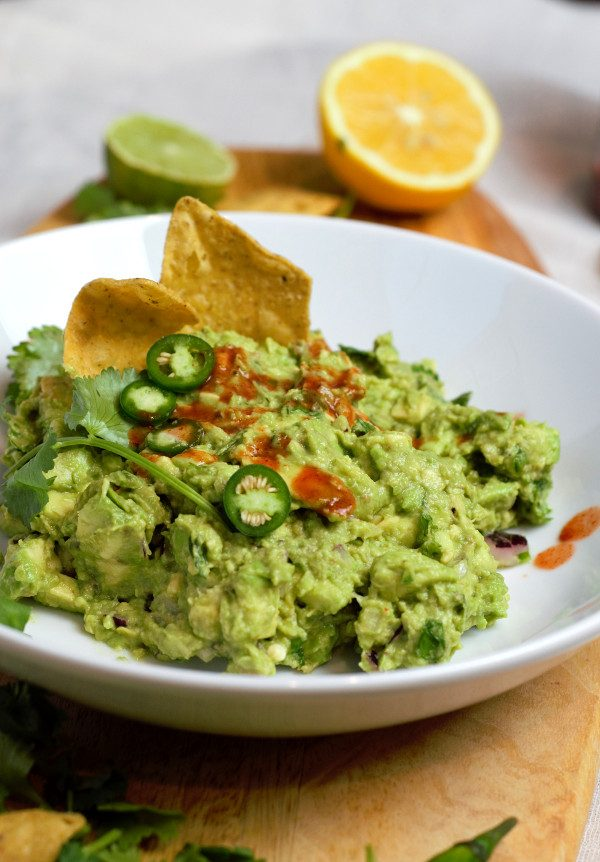 Beautiful ripe avocados hand smashed with onions, serano peppers, cilantro, and fresh squeezed lemons and limes.